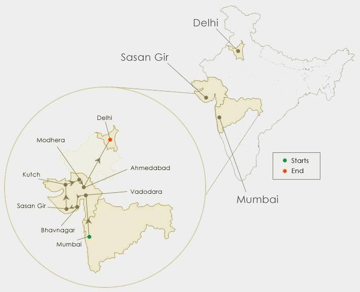 Hidden Treasures of Gujarat Route Map