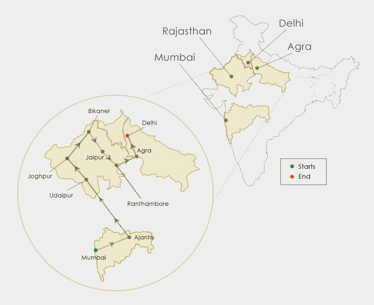The Heritage of India Tour Route Map