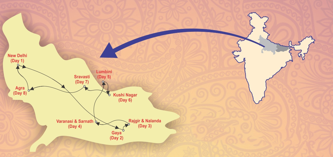 Buddhist Circuit Tourist Train Route Map | The Luxury Trains Of India